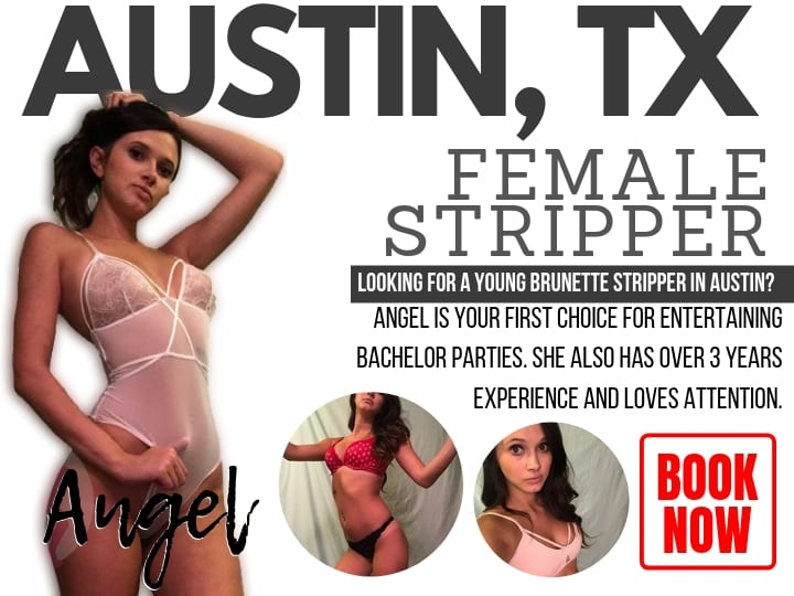 Rent a party Austin stripper like this host brunette for your bachelor party